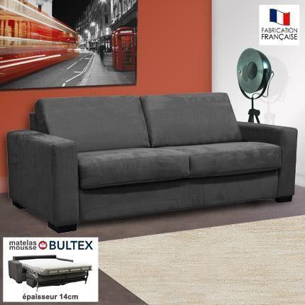 Canap 3 places convertible bultex microfibre anthracite for Maison de la literie canape convertible