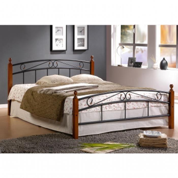 lit design en metal noir avec pieds de lit en bois. Black Bedroom Furniture Sets. Home Design Ideas