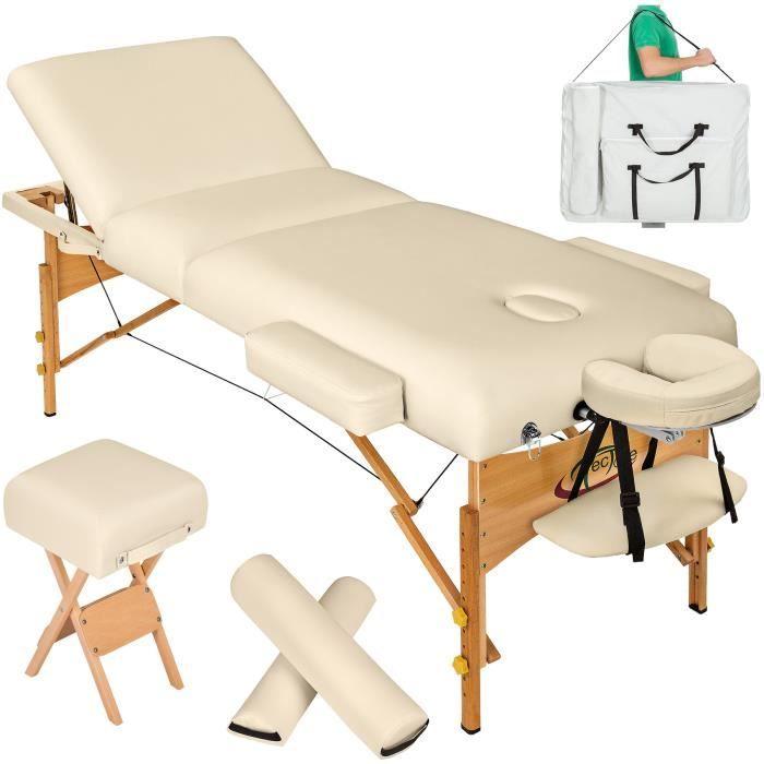 table de massage pliante 3 zones beige 13 cm d 39 paisseur tabouret rouleau rouleau. Black Bedroom Furniture Sets. Home Design Ideas