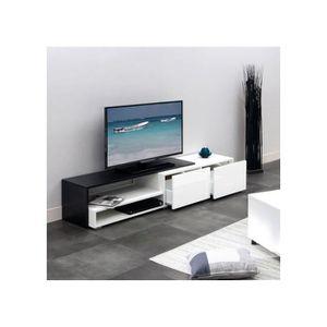 meuble laque blanc et noir achat vente meuble laque blanc et noir pas cher cdiscount. Black Bedroom Furniture Sets. Home Design Ideas