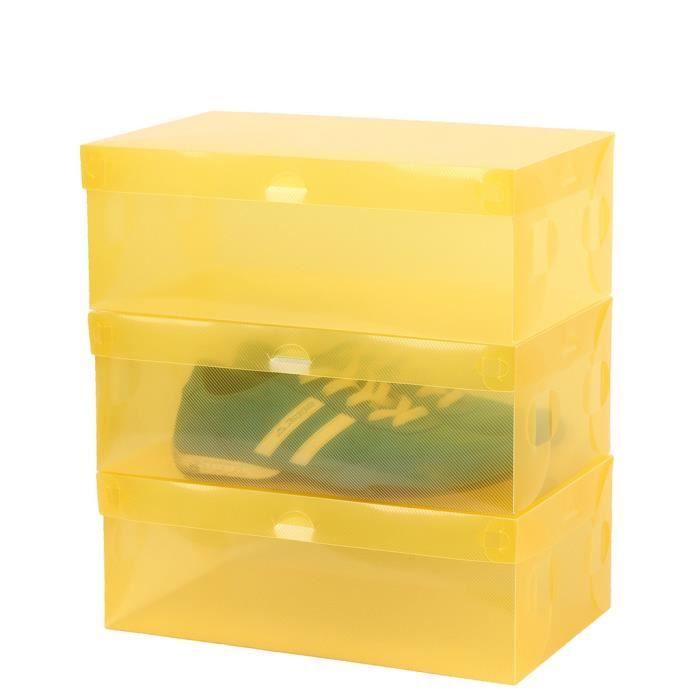 6pcs bo te de rangement de chaussures transparente jaune - Boites rangement chaussures ...
