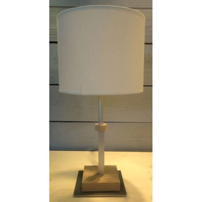 Lampe cylindre en bois huil e 60w boutica design achat for Lampe en bois artisanale