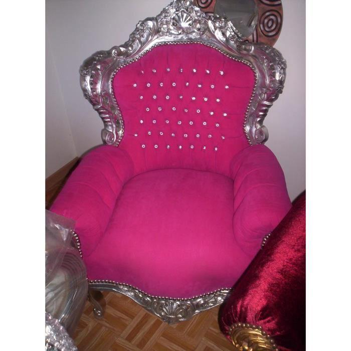 fauteuil baroque fuchsia et argent achat vente fauteuil gris les soldes sur cdiscount. Black Bedroom Furniture Sets. Home Design Ideas