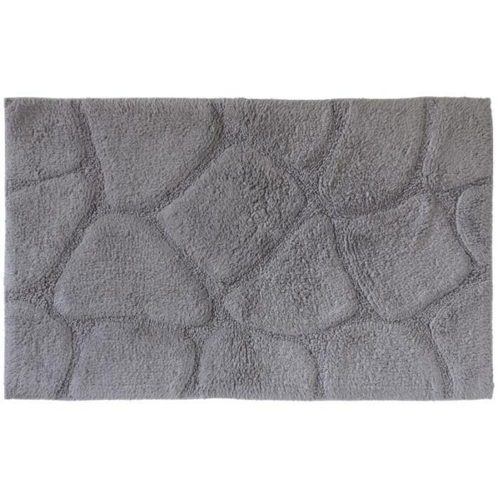 tapis de bain 100 coton gris achat vente anti d rapant bain 103127 t. Black Bedroom Furniture Sets. Home Design Ideas