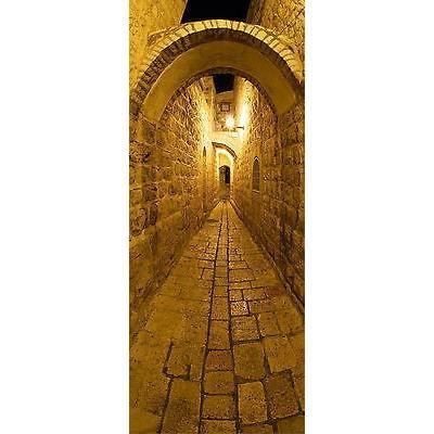 Papier peint pour porte trompe l oeil d co ruelle r f 101 dimensions 73x204 - Papier peint trompe l oeil pour porte ...