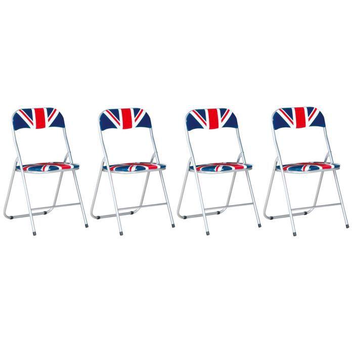 Lot de 4 chaises pliables motif londres trendy achat for Chaises pliables