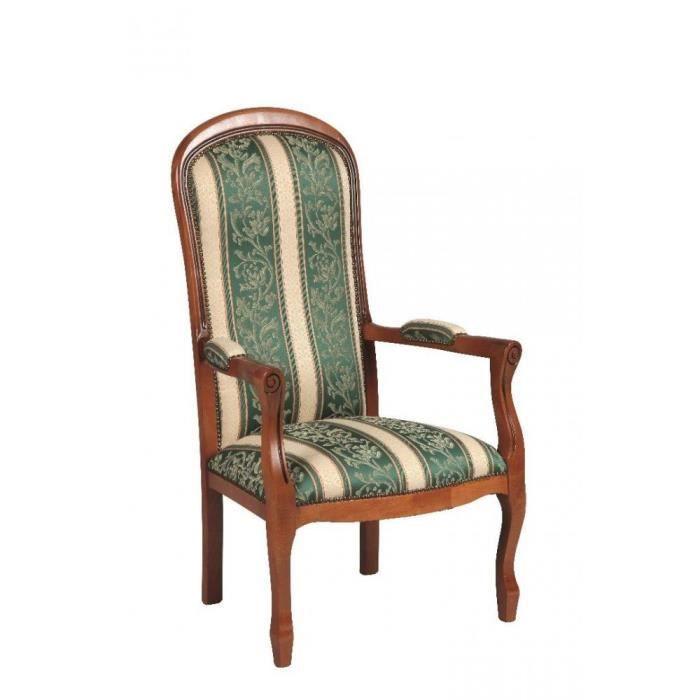 fauteuil voltaire merisier et tissu vert achat vente fauteuil marron cdiscount. Black Bedroom Furniture Sets. Home Design Ideas