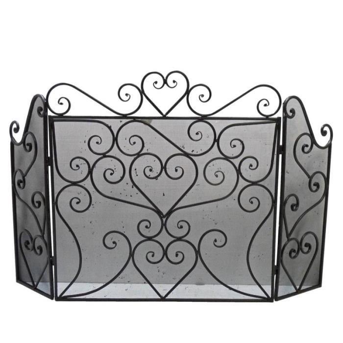 pare feu feux grille de chemin e trois pans grillag ecran de foyer en fer noir 62x101cm. Black Bedroom Furniture Sets. Home Design Ideas