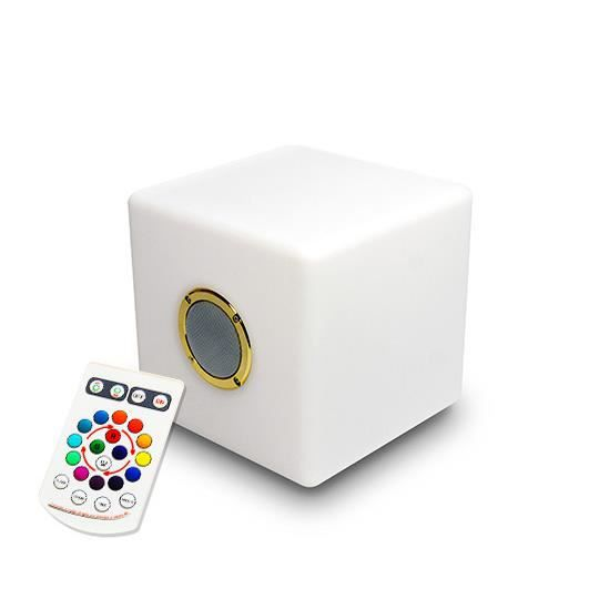 enceinte bluetooth cube lumineux led 20 cm ext rieur sans fil achat vente enceinte bluetooth. Black Bedroom Furniture Sets. Home Design Ideas
