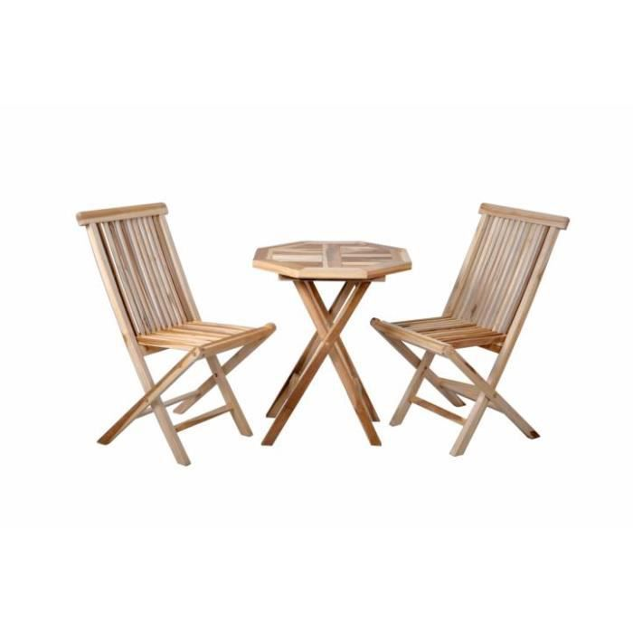 Une table et deux chaises bois de teck massif achat vente fauteuil jardin une table et deux for Decaper une table de jardin en bois