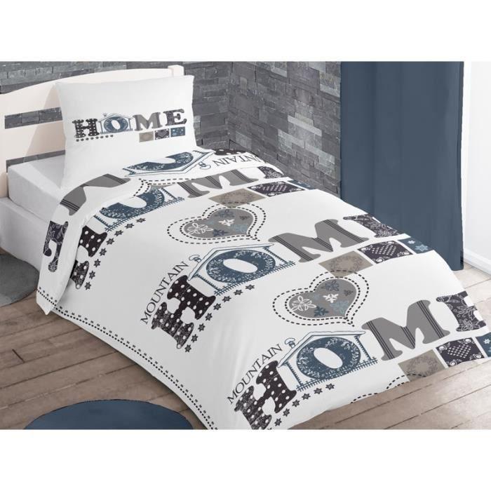 parure housse de couette coton 1 place mountain blanc achat vente parure de couette cdiscount. Black Bedroom Furniture Sets. Home Design Ideas