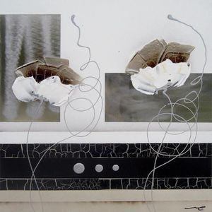 TABLEAU - TOILE FLORAL Tableau déco toile peinte à la main 30x30 c
