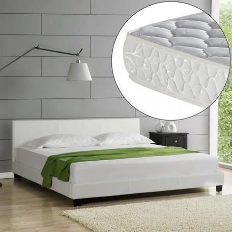 lit berlin blanc 160x200 cm avec matelas achat vente lit complet lit berlin blanc 160x200 cm. Black Bedroom Furniture Sets. Home Design Ideas
