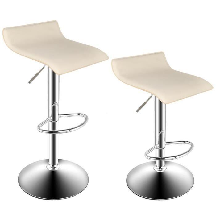 2pcs tabouret de bar chaise de bar tabouret salon moderne chrome chaise pivot - Tabouret de bar beige ...