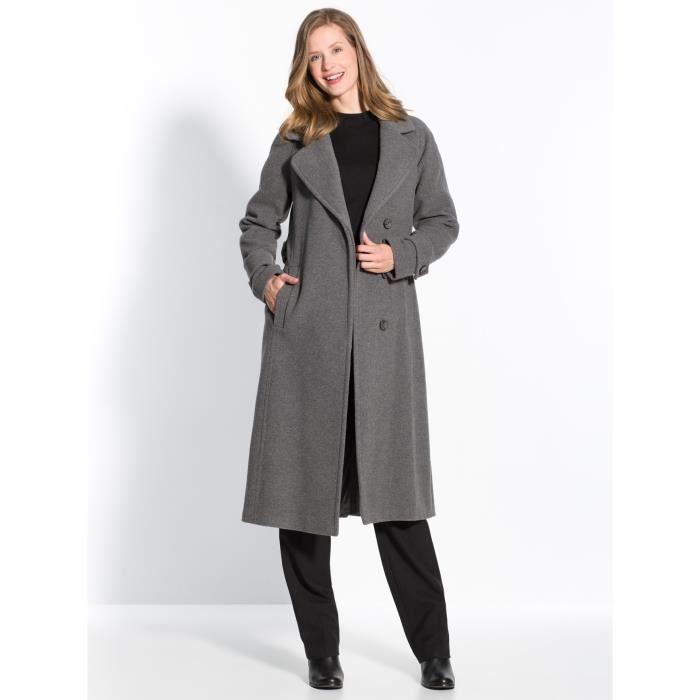 manteau en drap de laine femme gris achat vente manteau caban soldes cdiscount. Black Bedroom Furniture Sets. Home Design Ideas