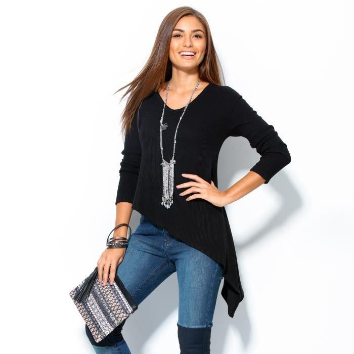 pull manches longues coupe asym trique femme venca noir achat vente pull cdiscount. Black Bedroom Furniture Sets. Home Design Ideas