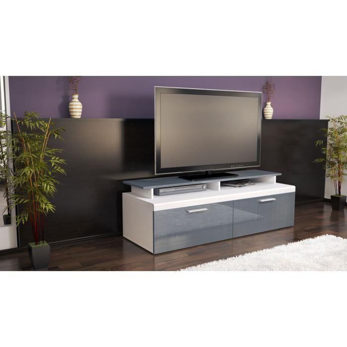 Meuble tv bas blanc et gris laqu 140 cm achat vente for Meuble tv bas gris