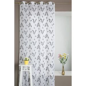 rideaux blanc gris ronds achat vente rideaux blanc gris ronds pas cher cdiscount. Black Bedroom Furniture Sets. Home Design Ideas