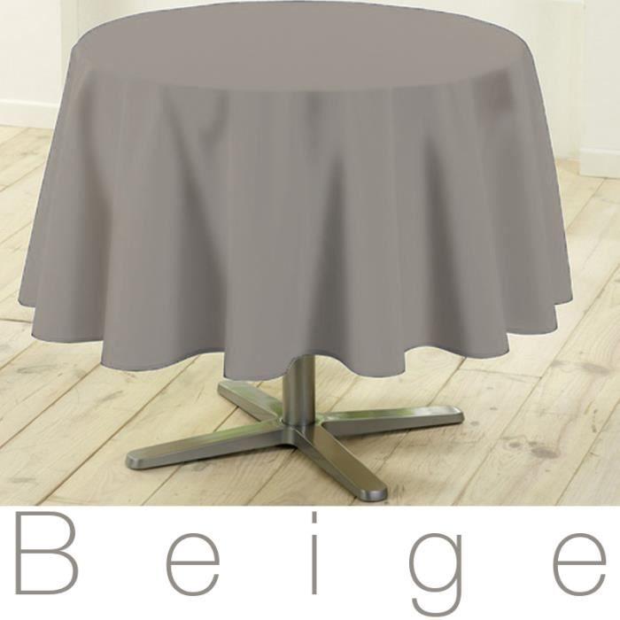 Nappe ronde antitache 180 cm beige design actuel achat vente nappe de t - Table ronde 180 cm diametre ...