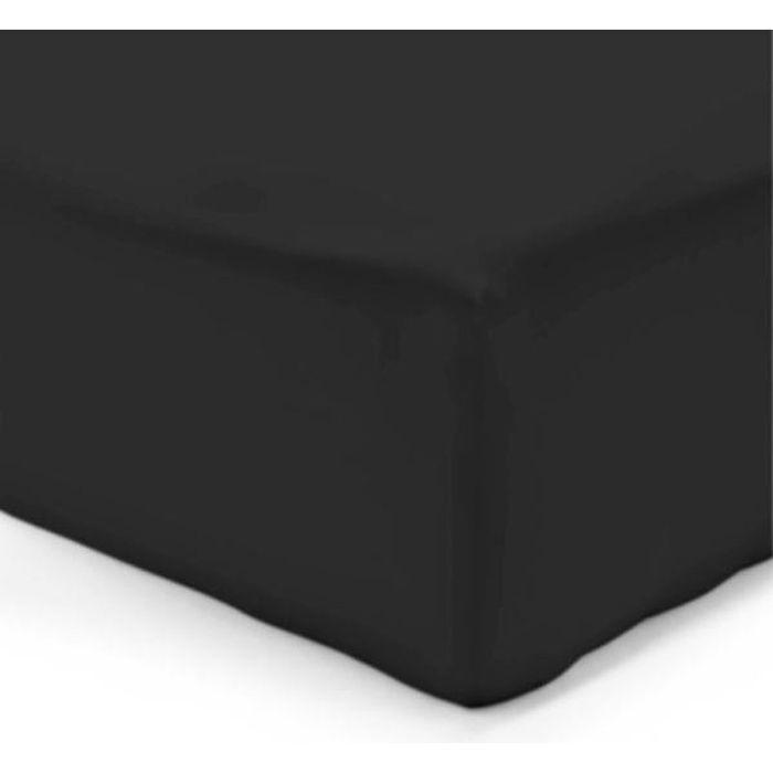 drap housse 180x200 cm couleur noir gamme serena 100 coton achat vente drap housse cdiscount. Black Bedroom Furniture Sets. Home Design Ideas