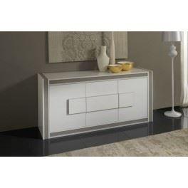 buffet design laqu gris et blanc ushuaia achat vente. Black Bedroom Furniture Sets. Home Design Ideas