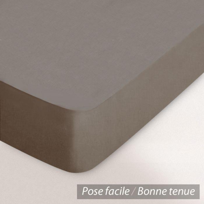 Drap housse coton 80x200 muscade achat vente drap for Housse 80x200