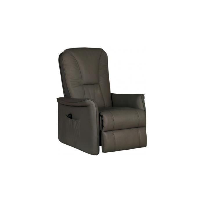 Fauteuil relaxation lectrique cuir chocolat achat vente fauteuil marron - Fauteuil cuir chocolat ...