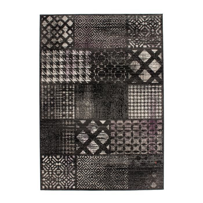 Tapis de salon patchwork design noir 120x170 cm achat for Salon patchwork