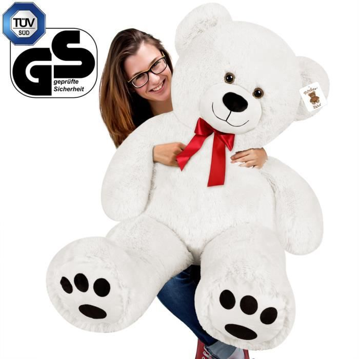 grand nounours ours peluche g ant xxl blanc achat. Black Bedroom Furniture Sets. Home Design Ideas