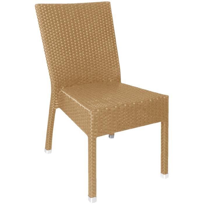 lot de 4 chaises en osier empilables de coloris naturel achat vente chaise marron cdiscount. Black Bedroom Furniture Sets. Home Design Ideas