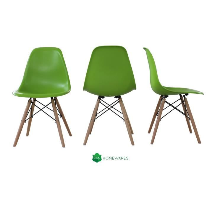 Lot de 4 chaise en plastique inspiration dsw eames vert for Inspiration dsw