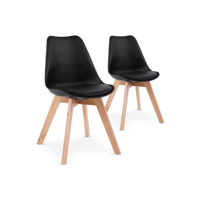 Lot de 2 chaises pu style scandinave noir emma achat vente chaise cdiscount - Chaises de style ancien ...
