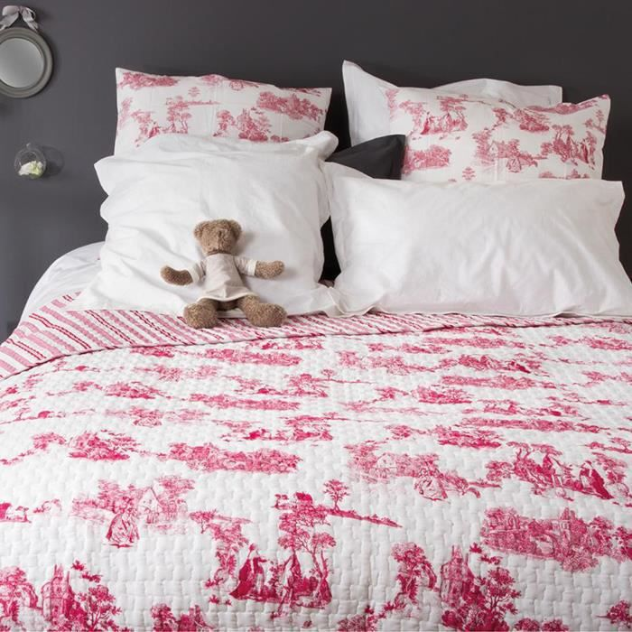 dessus de lit imprim facon toile de jouy 100 coton rouge achat vente jet e de lit. Black Bedroom Furniture Sets. Home Design Ideas