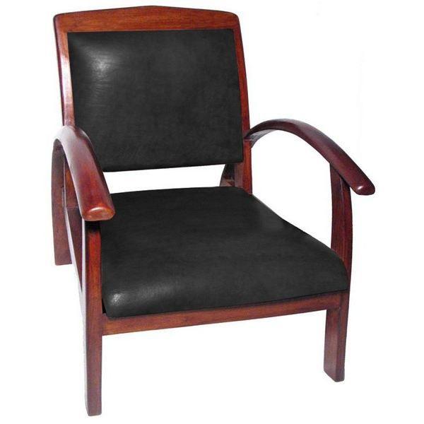 Fauteuil design colonial titanic teck cuir achat vente fauteuil mat - Fauteuil colonial maison du monde ...