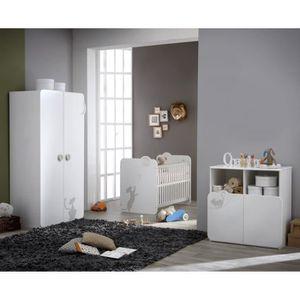 CHAMBRE COMPLÈTE BÉBÉ KITTY Chambre Bébé Complète : Lit + Armoire + Comm