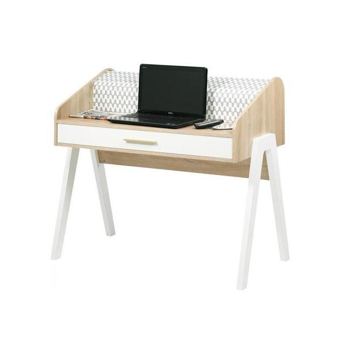 bureau vintage 109 cm 1 tiroir chene blanc vague achat vente bureau bureau vintage 109 cm 1. Black Bedroom Furniture Sets. Home Design Ideas