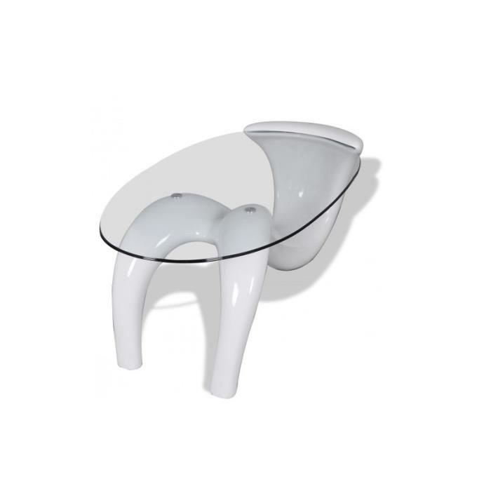 Table basse blanche ovale courbes modernes verre 9mm - Table basse blanche ovale ...