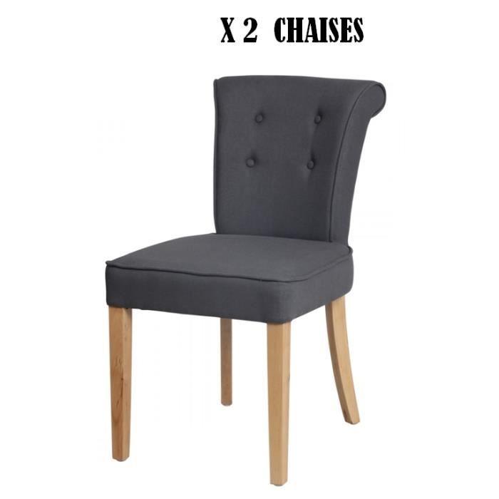 lot de 2 chaises en lin capitonne gris anthracite sophia. Black Bedroom Furniture Sets. Home Design Ideas