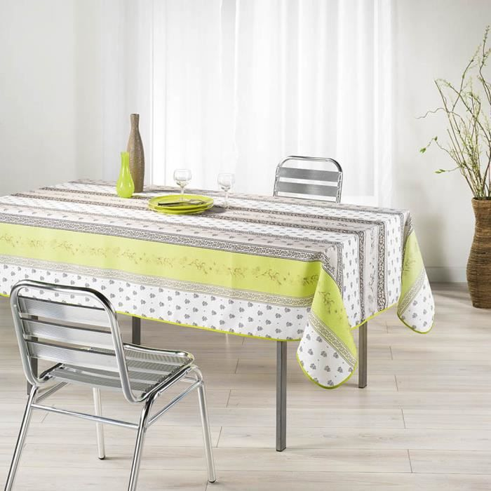 nappe infroissable antitache meridional anis achat vente nappe infroissable antitach cdiscount. Black Bedroom Furniture Sets. Home Design Ideas