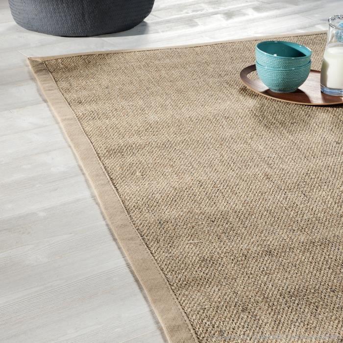 tapis sisal avec ganse en coton bayview 140 x 200 cm achat vente tapis cdiscount. Black Bedroom Furniture Sets. Home Design Ideas