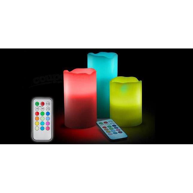 pack de 3 bougies cire led t l commande achat vente bougie d corative cdiscount. Black Bedroom Furniture Sets. Home Design Ideas