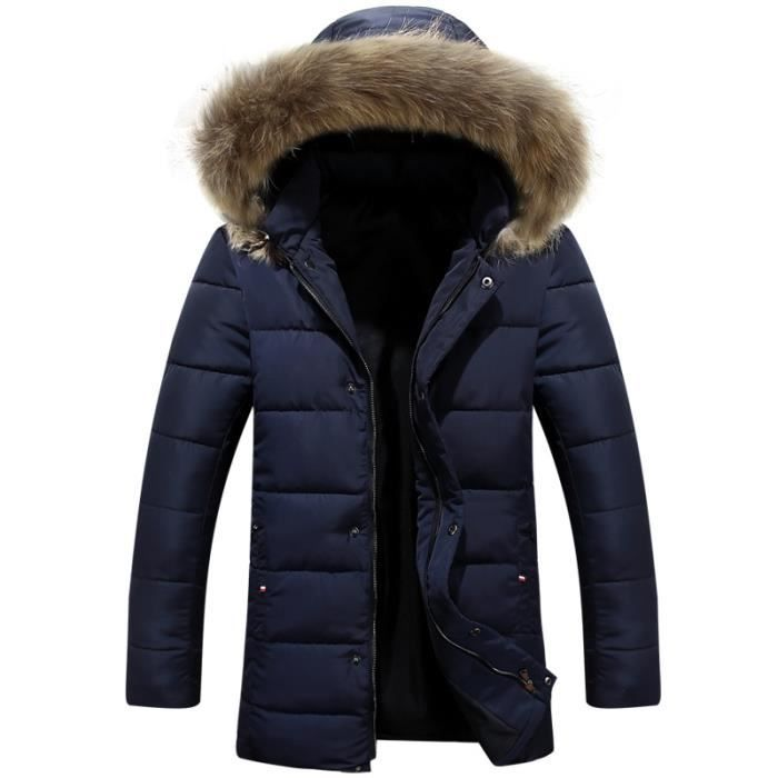 doudoune hommes hiver col en fourrure veste bleu bleu achat vente parka cadeaux de no l. Black Bedroom Furniture Sets. Home Design Ideas