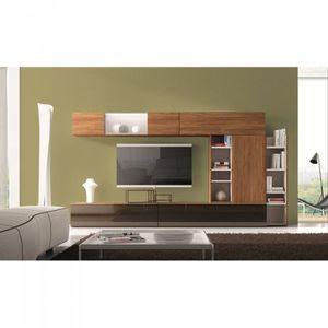 Meuble mural tv nina couleur noyer mati re pann achat vente meuble tv me - Meuble support tv mural ...