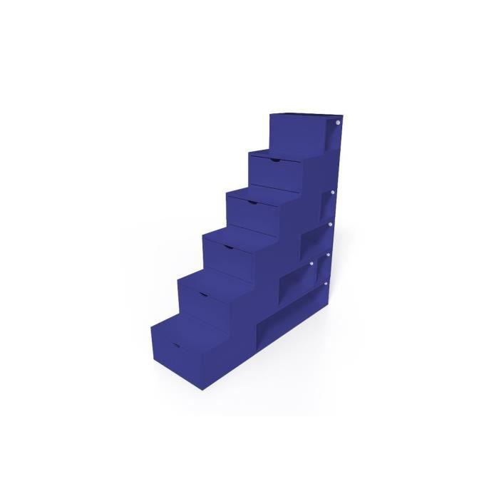 Escalier cube de rangement hauteur 150 cm mdf bleu fonc achat vente me - Hauteur sous escalier ...
