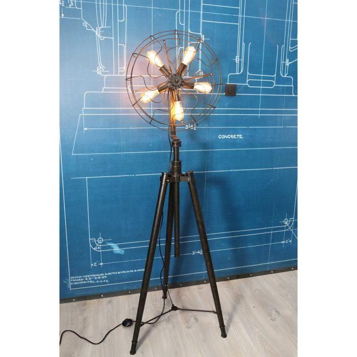 lampe sur tr pied style ventilateur vintage pour. Black Bedroom Furniture Sets. Home Design Ideas
