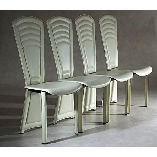 4 chaises de salle a manger creme adel achat vente for Chaise salle a manger hauteur assise 50 cm