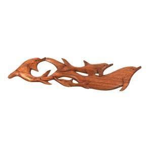 Sun d'koh - Gravure 4 dauphins en bois (droite)…