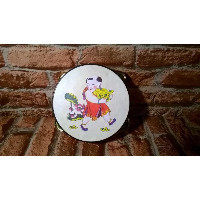 Petit tambourin d co asiatique rouge achat vente objet for Petit objet deco