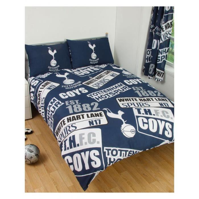 Tottenham fc patch double housse de couette et taies d - Housse de couette double ...