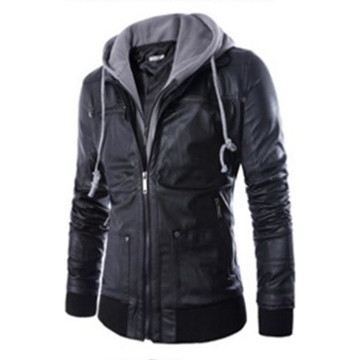 outaking blouson slim en cuir homme moto manteau jacket. Black Bedroom Furniture Sets. Home Design Ideas